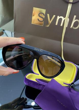Шикарные чёрные бежевые брендовые очки маска3 фото