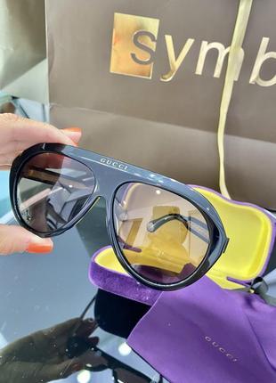 Шикарные чёрные бежевые брендовые очки маска4 фото