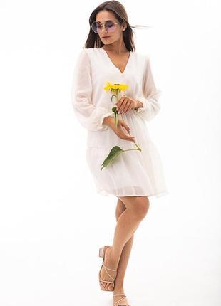 Шифоновое платье , белое платье 44 размер , платье из шифона