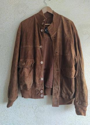 Куртка ветровка замшевая коричневая kms