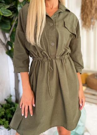 Женское платье рубашка сарафан хаки беж лён