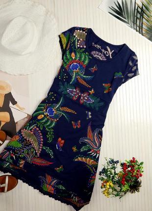 Испанское платье desigual синее яркое с рисунком и вышивкой s m летнее