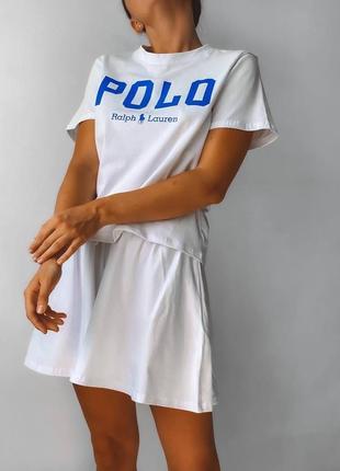 Костюм с шортами юбкой женский футболка спортивный белый тенисный