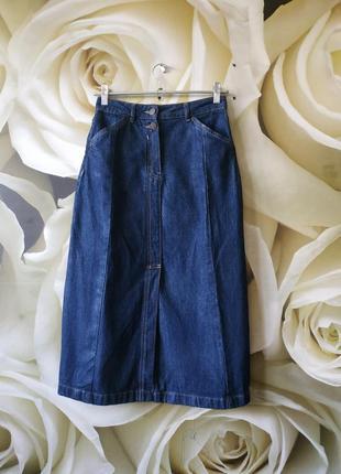Шикарная джинсовая юбка миди с разрезом