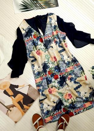 Итальянское романтическое платье свободного кроя fracomina с рисунком летнее