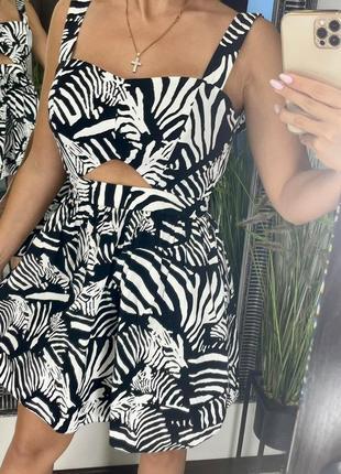 👗стильное короткое чёрно-белое платье зебра/чёрно-белое платье мини животный принт👗