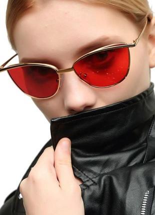 Солнцезащитные очки-лисички с прочной оправой метал и двойными бровями красная дымка