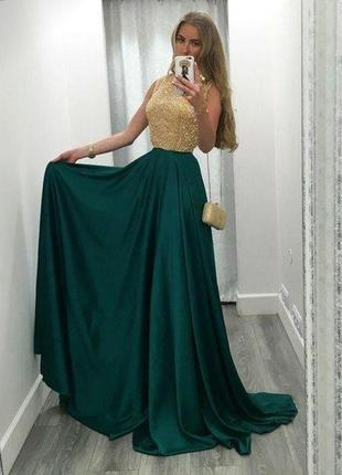 Красивое вечернее платье в пол с шёлком