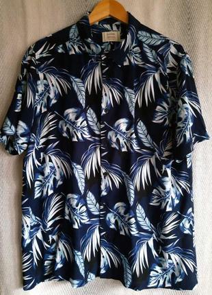 Мужская гавайская рубашка с коротким рукавом. пляжная цветная летняя вискозная шведка гавайка.
