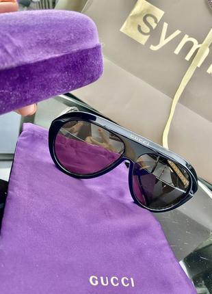 Шикарные чёрные с бежевым очки маска5 фото