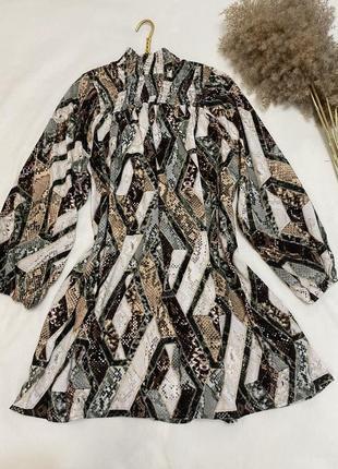 Свободное оверсайз oversize короткое платье со сборкой h&m размер 34,36,42,44