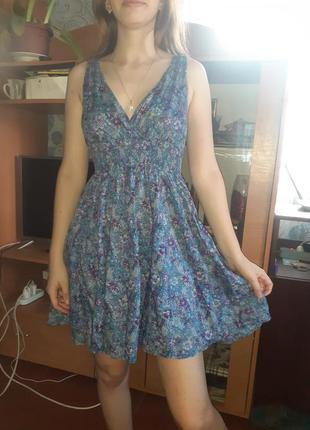 Легкое летнее платье на резинке хлопок