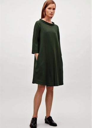 Cos зеленое шерстяное платье а-силуэта с карманами