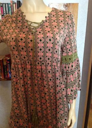 Натуральная блуза - туника в стиле прованс, бренда rainbow, р. 46-48