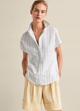 Рубашка белая в комбинированную вертикальную полоску со спущенным плечевым швом massimo dutti