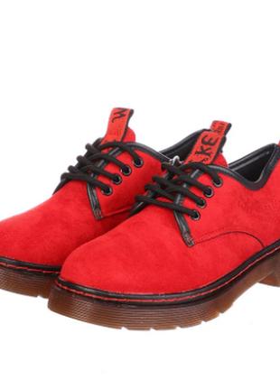 Женские красные туфли на шнурках 168-19-red, ботинки