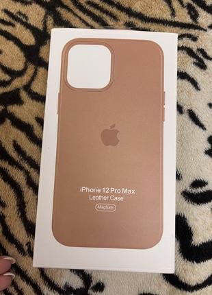 Чехол кожа iphone 12 pro max бежевый