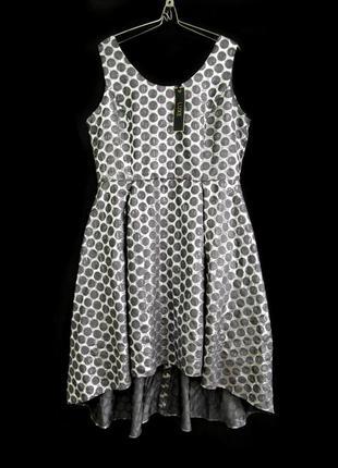 Распродажа! luxe серебристое жаккардовое платье с удлиненной спинкой р.16