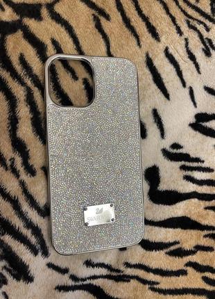 Чехол кожа iphone 12 pro max swarovski