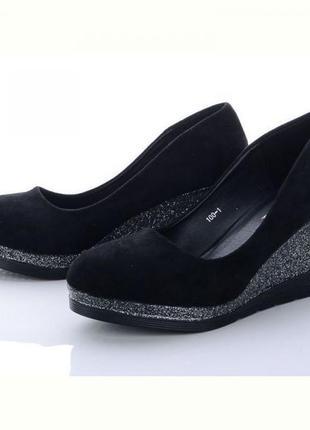 Женские замшевые туфли на высокой танкетке zdw-100-1