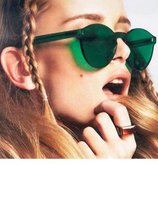 Стильные очки без оправы зелёные