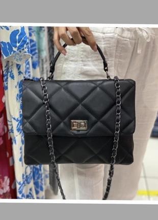 Сумка стеганая кожаная сумка жіноча чорна італійська сумка шкіряна
