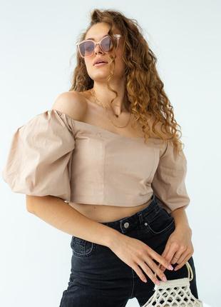 Блуза-топ с пышными рукавами, цвет светло-коричневый