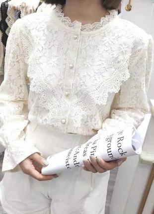 Женская ажурная блуза с рукавом