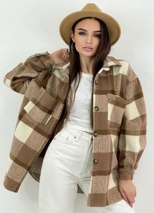 Женская куртка рубашка в клетку барашек
