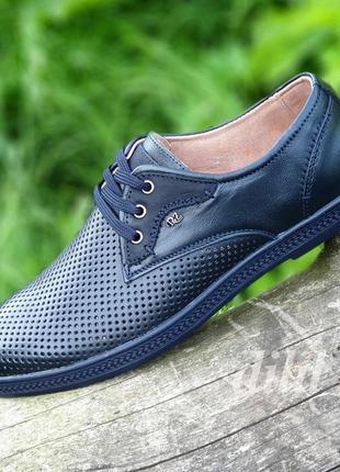 Мужские туфли летние кожаные темно синие - чоловічі туфлі літні шкіряні темно сині