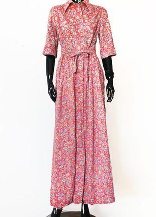 Винтажное платье-халат макси с цветочным принтом хлопок
