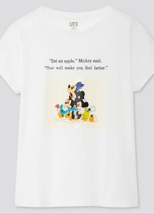 """Белая футболка на девочку """"disney stories"""" uniqlo"""