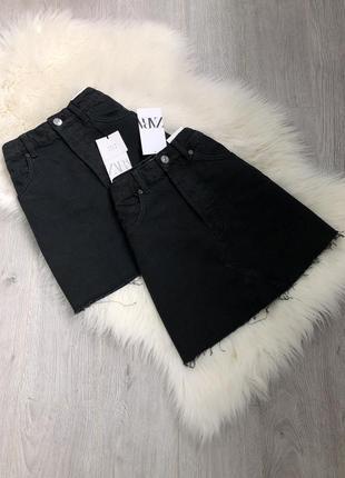 Базовая универсальная джинсовая юбка на высокой талии посадке