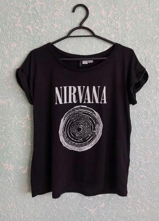 Nirvana футболка мерч нирвана merch h&m divided женская черная базовая