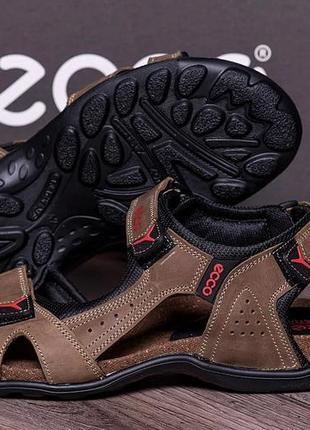 Мужские кожаные сандалии ecco active drive olive