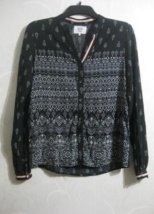 Рубашка denim hunter чёрная разноцветная принт орнамент узор длинный рукав