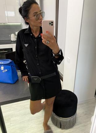 Чёрное шикарное атласное платье рубашка брендовое с поясом и сумочкой
