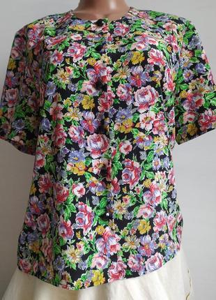 Винтажная блузка  в цветочек