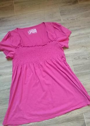 Розовая туника хлопок удаленная футболка большой размер 50
