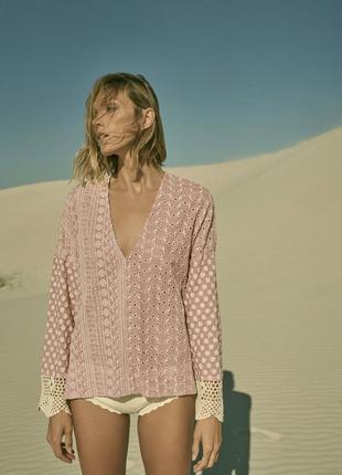 Шикарная ажурная блуза с вязкой на рукавах zara