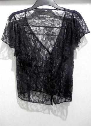 Ажурная полупрозрачная гипюровая чёрная блуза h&m