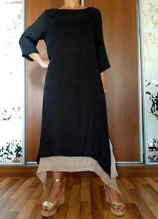 Стильное черное двухслойное ассиметричное платье в стиле бохо anself
