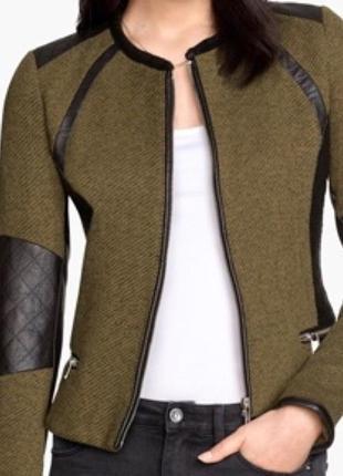 Класний піджачок курточка зі вставками екокожи р. s.