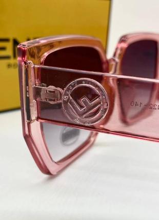 Женские нские солнцезащитные очки в розовой прозрачной оправе линзы с градиентом окуляри жіночі3 фото