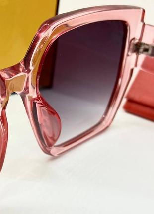 Женские нские солнцезащитные очки в розовой прозрачной оправе линзы с градиентом окуляри жіночі5 фото