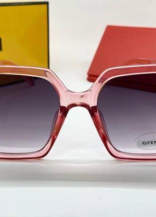Женские нские солнцезащитные очки в розовой прозрачной оправе линзы с градиентом окуляри жіночі4 фото
