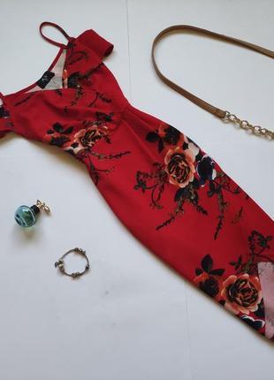 Красное платье миди в форме запаха ax paris