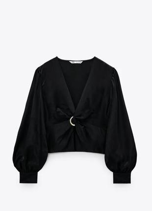 Сатиновая блуза-топ zara черная как новая s-m