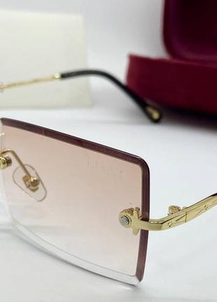 Солнцезащитные очки безоправные прямоугольные линзы с градиентом пудровые