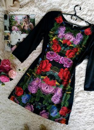 Стильное прямое платье в цветочек с рукавом hm